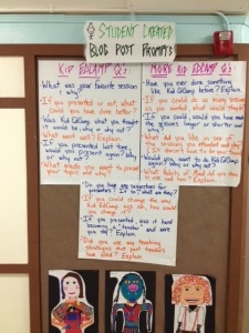 Student Created Blog Post Prompts on Kid EdCamp Day 2014